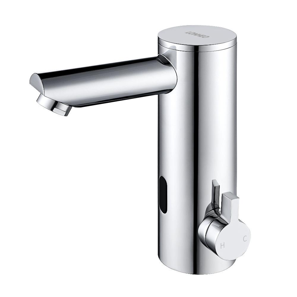 GIMIFY Mitigeur automatique /à capteur infrarouge sans contact pour robinet de lavabo avec corps en laiton chrom/é pour eau froide et chaude